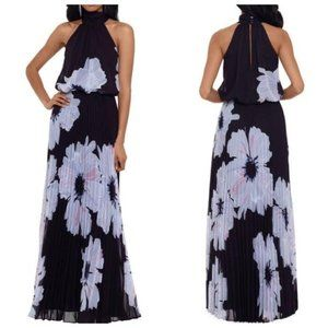 Betsy & Adam Floral Mock Neck Pleated Chiffon Gown